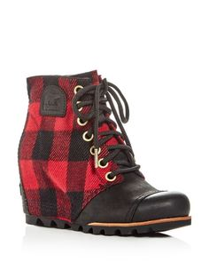 Sorel Women's Pdx Leather & Plaid Lace Up Wedge Booties
