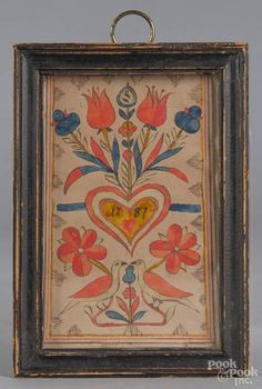 Pennsylvania ink and watercolor fraktur bookplate, dated 1787