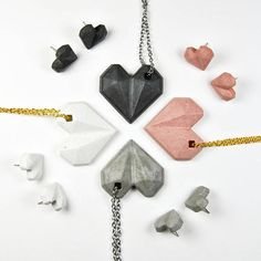 Concrete necklace and earrings set Concrete heart Cement jewelry Modern and contemporary cement jewelry Gift for architect Beton Holiday Jewelry, Jewelry Gifts, Jewellery, Diy Jewelry, Fashion Jewelry, Cement Jewelry, Gifts For Women, Gifts For Her, Origami