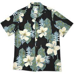 dream hibiscus black hawaiian aloha rayon shirt