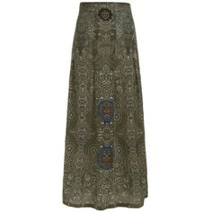Printed Pleated Bohemian Skirt Green ($20) ❤ liked on Polyvore featuring skirts, pleated skirt, bohemian style skirts, knee length pleated skirt, green skirt and boho skirts