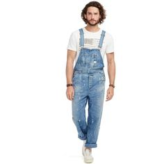 Denim & Supply Ralph Lauren Distressed Denim Overalls ($265) ❤ liked on Polyvore featuring men's fashion and colby