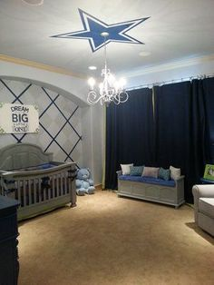 Dallas Cowboys Baby Nursery Room (Designed by Bedazzled Baby & Kids) (Custom Bedding, Nursery Furniture, & Art Work by BeDazzled