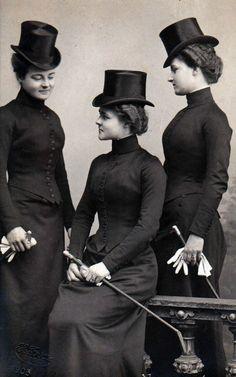 heracliteanfire:  Ladies in riding habits, c 1900