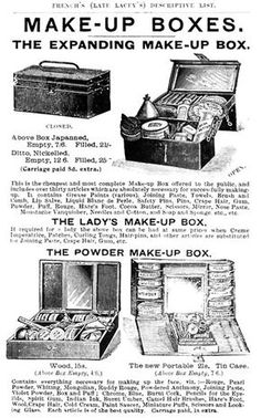 "Links to a terrific page on the history of stage makeup, on a site with even more great history on early film & TV makeup, cosmetics, and unusual info like ""What exactly is Eyelash Beading, and what does it look like?"""