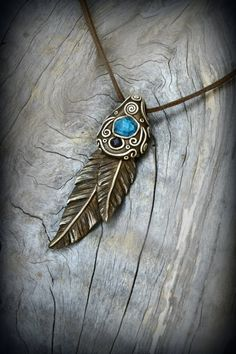 feather+boho+gemstone+clay+pendant+mineral+by+PeaceElements
