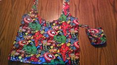 I handmade this bag using Marvel heroes fabric. Includes detachable accessory case