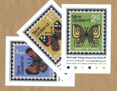 3 x RETRO BUTTERFLY CHARTS - Vintage Postage Stamp Cross Stitch Patterns