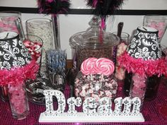 Jackie Sorkin's Fabulously Fun Candy Girls, Candy World, Candy Buffets & Event Industry Bl: Mimi's Glam Pink, Black, White Damask Baby Shower Candy Buffet Bar, Custom Cupcakes & Favors- Hollywood Hills, Ca 5-2-10