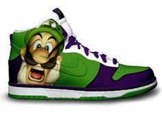 Green Purple Luigi Nikes Super Mario Bros Brother Shoes Adidas Shoes  Outlet 34c0b6f18