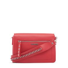 Buy Love Moschino Red Leather Shoulder Bag for Women at Fashiontage. Red Shoulder Bags, Chain Shoulder Bag, Shoulder Handbags, Shoulder Strap, Moschino, Brown Crossbody Bag, Handbags On Sale, Collection, Leather