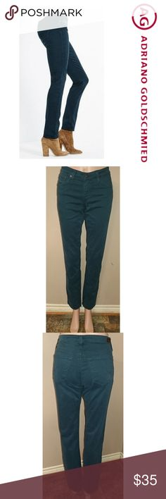 """AG The Stilt Cigarette Leg Anthropologie AG The Stilt Cigarette Leg size 29, inseam 31"""", rise 8"""", waist laid flat 15"""". Wash Sea Soaked Peacock. Stretchy. Great condition. First picture for reference. Anthropologie Jeans Skinny"""
