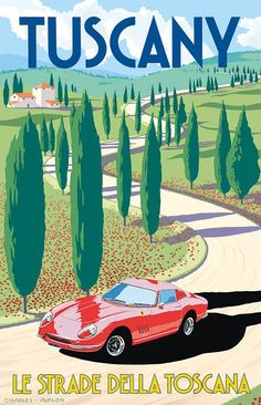 PEL324: 'Ferrari 275 GTB/4 - Tuscany' by Charles Avalon - Vintage travel posters - Art Deco - Pullman Editions