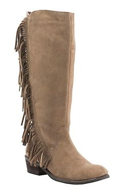 Roper Women's Tan Suede with Fringe Round Toe Western Boots | Cavender's