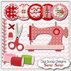 Sew Sew Sewing Clip Art, Instant Download Vintage Rose Digital (Cath Kidson…