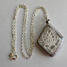 Lace Doily Doilie Fabric Locket Style Necklace in Silver and Clear Arch Pendant