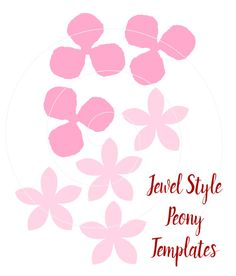 Paper flower Jewel Style Peony in SVG files & PDF templates with video tutorial links. If using with a cutting machine you must have software and knowledge that allows you to open and use this file. If you have any problems using the file please message me and I will do my best to help. This listing includes: ♥ Jewel style Peony petals in SVG, 1 PNG image of each petal type & 2 PDFs in fill and no fill outline ♥ 3 point style leaf as shown in SVG, 1 PNG image & PDF ♥ Tutorial link...