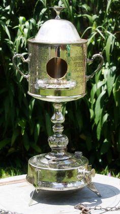 Silverplate Kerosene Lantern Trophy Birdhouse OOAK of Found Upcycled Items