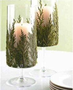 Christmas Candles with greens glued