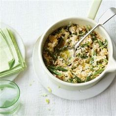 Green bean and ricotta three-grain risotto recipe. This quick vegetarian risotto uses time-saving ingredients making it perfect for mid-week cooking.