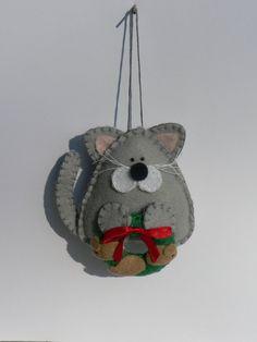 Felt Cat Ornament  Gray by FeltLikeIt1 on Etsy
