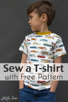 Sew a t shirt for boys with this tutorial and free tshirt pattern