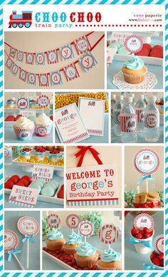 Vintage Choo-Choo Train Birthday Party Package Personalized FULL Collection Set - PRINTABLE DIY, train party decorations, choo choo train birthday, thomas the train birthday party. Trains Birthday Party, Train Party, Birthday Parties, Happy Birthday Name, 2nd Birthday, Birthday Ideas, Thomas Birthday, Birthday Wishes, Diy Party