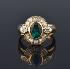 Estate 1.5 Carat Emerald and Diamond Cocktail Ring #Diamond #Emerald #Cocktail #Ring #14K #Sets #Padlock #Snake #Navette #Bird