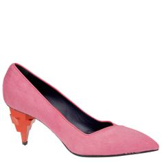 Vionnet pink pony pumps with orange geometric heel. From autumn winter 2014 collection - www.wunderl.com