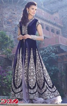 Lavish White Embroidery Work Blue Velvet Bridal Wear Lehenga