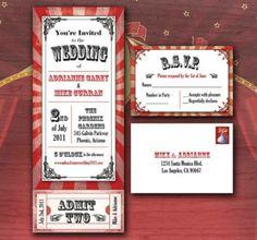 Invitation de mariage aux couleurs du cirque - Etsy.com Circus Movie Ticket…