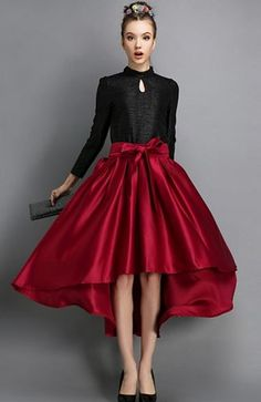 Love Love Love this Skirt! Love the Color! Love the Bow! Red High Low Bow Belted Skirt