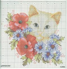 embroidred pictures: cat cross stitch - crafts ideas - crafts for kids