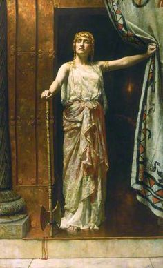 "Clytemnestra:  ""After the murder"" (1882) artist John Collier (1850-1934).   In the Oresteia by Aeschylus, Clytemnestra was a femme fatale who murdered her husband, Agamemnon, king of Mycenae (Argos) and the Trojan princess Cassandra, whom he had taken as war prize following the sack of Troy."