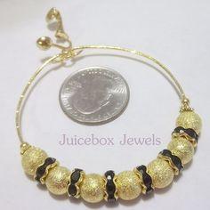 CLIP or Pierced 2.25 inch STARDUST Black/Gold Rhinestone Thin Hoop Earrings V419 #Handmade #Hoop