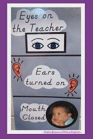 photo of: Visual Reminders for Expected Behavior at Circle Time, Classroom Rules in Preschool