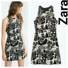 Zara jacquard dress floral small black s New w tags Zara Dresses