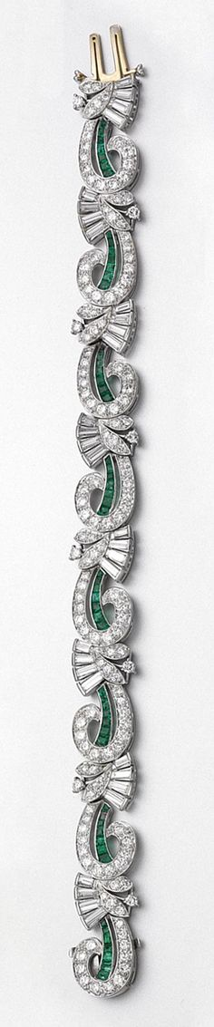 Retro. Palladium, Emerald and Diamond Bracelet, Tiffany, c1940.