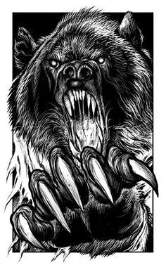 FF Howl of the Werewolf 02 Werebear Fine Art Giclee Photographic Print at Artist Rising. Artist Rising is the premier destination for discovering original art, fine art and photography prints, and limited edition art by living artists. Dark Drawings, Animal Drawings, Ours Grizzly, Creation Art, Geniale Tattoos, Bear Pictures, Bear Art, Animal Tattoos, Horror Art