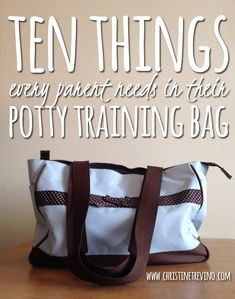 Potty training is an ordeal for everyone. Help cut out the hassle of leaving the house by keeping your potty training bag stocked with these ten items.