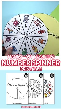 With little prep time and much fun for your kids, we created this Number Spinner Game with Number 1 to You can use it in a variety of hands-on math learning, let your child coloring in the numbers or simply print out the color version of this spinner. Number Games For Toddlers, Number Games Preschool, Teaching Numbers, Kindergarten Games, Toddler Learning Activities, Hands On Learning, Kids Learning, Family Activities, Number Spinner