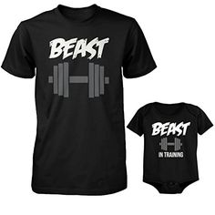 Father's Day Gift Ideas - Father and Son Matching Outfit - Daddy Beast and Baby Beast in Training Matching T-Shirt and Onesie Set by 365 In Love