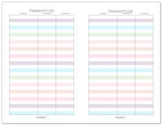 Half-Size Password Log Printable - prints on US Letter (8.5 x 11 inches) simply cut in half and you have two half-size pages.