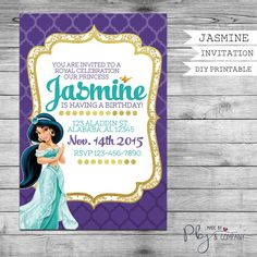 Princess Jasmine Invitation Birthday Invitation By PBJnCompany