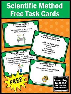 FREE Download Scientific Method Task Cards for Science Center Activities: You will receive 6 free printable task cards for 4th, 5th and 6th grade students. They work well with your back to school activities. Students are given a definition and must choose the correct vocabulary word. https://www.teacherspayteachers.com/Product/FREE-Download-Scientific-Method-Task-Cards-for-Science-Center-Activities-1336533