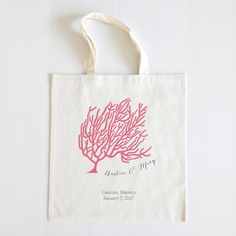 Love this sweet little coral reef tote. Perfect for summer. Customize with your own colors and information :) #wcshop #destinatnionwedding #weddingchicks #coralreef #customtote