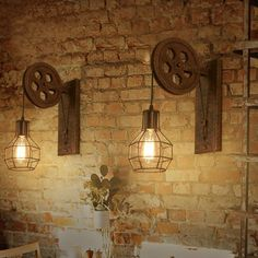 Creative Retro Lifting Pulley Wall Light Sconce Lamp - All About Decoration Rustic Wall Lighting, Industrial Wall Lights, Wall Sconce Lighting, Rustic Wall Sconces, Bathroom Lighting, Pulley Light, Lamp Light, Lamp Inspiration, Creative Walls