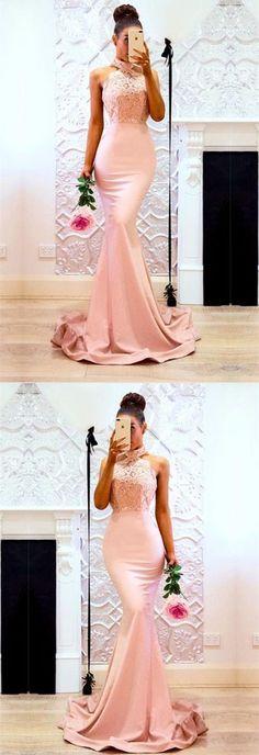 blush pink prom dress, halter mermaid prom dress, elegant long stain party dress by MeetBeauty, $125.64 USD