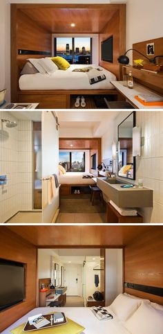 8 Small Hotel Rooms That Maximize Their Tiny Space | Building the bed right into the wall of this small hotel room creates a separate sleeping space in the room and makes the living space feel a little more roomy. The built-in bed also creates a storage solution under the bed, perfect for storing shoes, bags, and whatever else you want to have put away but easily accessible.