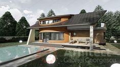 Casa cu etaj 69 | Proiecte de case personalizate | Arhitect Gabriel Georgescu & Echipa Modern House Facades, Modern House Design, Facade House, Design Case, Home Fashion, House Plans, Sweet Home, Villa, Flooring